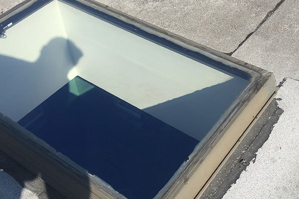 A roof skylight after Joe cleans it.